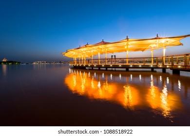 The night view of Suzhou Jinji Lake Leisure Area