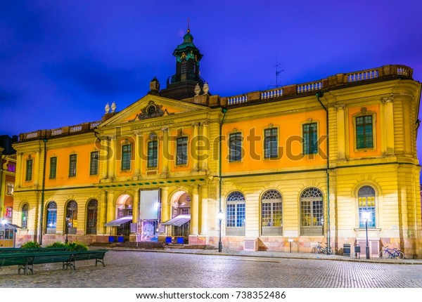 Night view of the Svenska Akademien building which hosts the Nobel museum in Stockholm, Sweden.