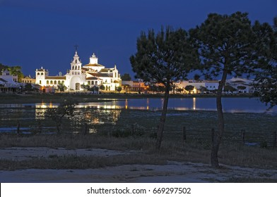 Night view of the swamp area with hermitage Rocio in the background, Almonte, Huelva, Spain
