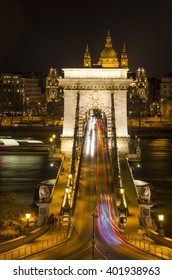 Night view of the Szechenyi Chain Bridge. It is a suspension bridge that spans the River Danube between Buda and Pest, the western and eastern sides of Budapest, the capital of Hungary.