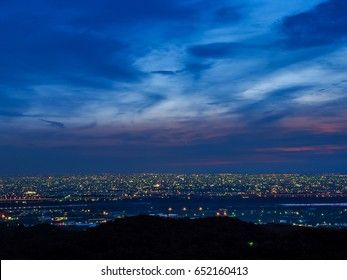 Night view of Taichung from the Blue Highway. (Dadu, Taiwan)