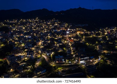 Night view of Taiwan old mountain village Jiufen, one of the most famous old town in Taiwan