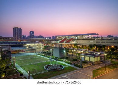 night view of Taoyuan HSR station of metro