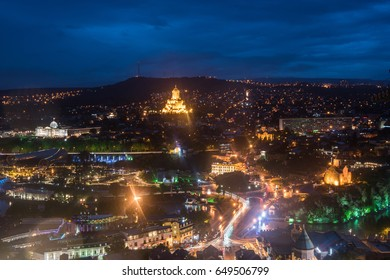 Night view of Tbilisi city