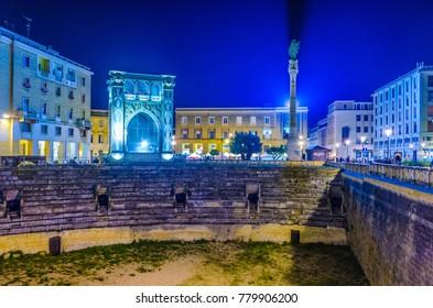 Night view of teatro romano in lecce, Italy