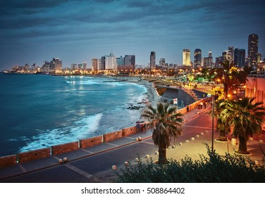 Night view of Tel Aviv, Israel. Vintage retro effect