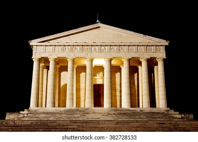 "Night view of ""Temple of Canova"" from ""Possagno"", Italy.  Architecture. Antonio Canova sculptor"