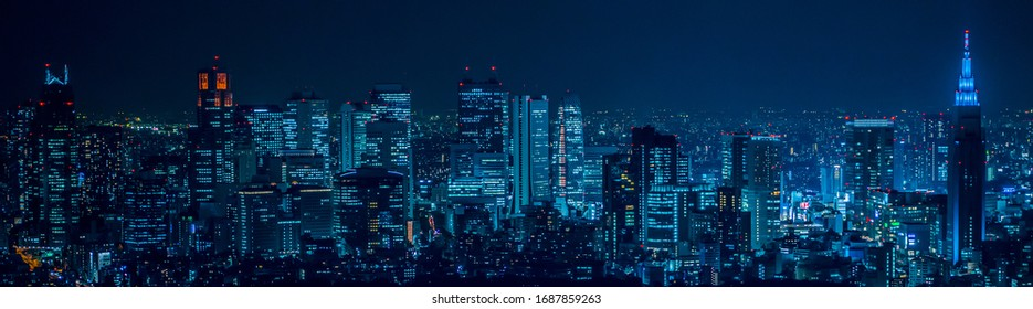 Night view of Tokyo, the capital of Japan,Cyberpunk