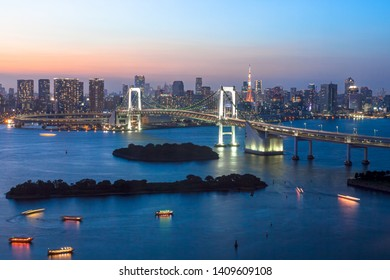 Night view of Tokyo seen from Tokyo Bay