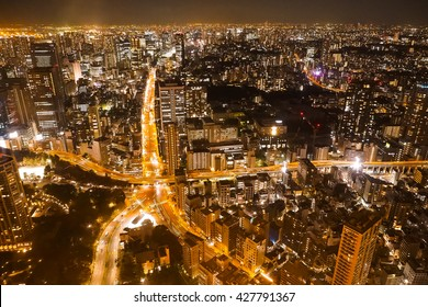 night view from Tokyo tower Japan  in wide angles of road line looking like starfish
