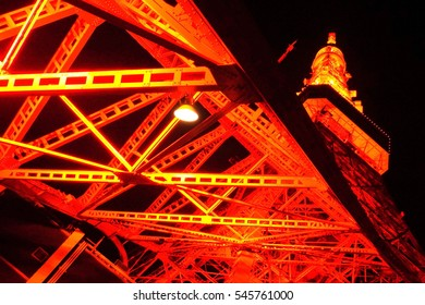 Night view of Tokyo Tower, skeleton, beautiful,