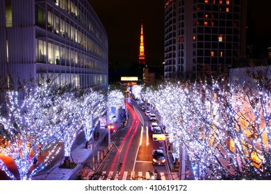 Night view of Tokyo Tower and two rows of lighten-up tree Ropponggi, Tokyo, Japan