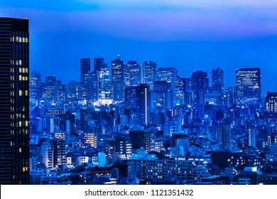 Night view of Tokyo urban area/Tokyo is the capital of Japan