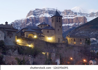night view of Torla, near  Ordesa and Monte Perdido National Park, Pyrenees, Huesca, Aragon, Spain