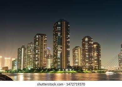 night view of Tower apartments at Tokyo,Japan