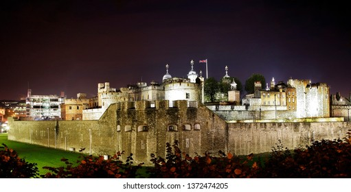 Night view of Tower of London, Her Majesty's Royal Palace and Fortress, Borough of Tower Hamlets. Now the castle is a popular tourist attraction.