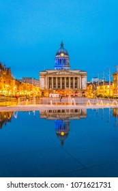 Night view of the town hall in Nottingham, England