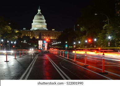 Night view of traffic on Pennsylvania Avenue and The Capitol Building in Washington DC, capital of the United States of America