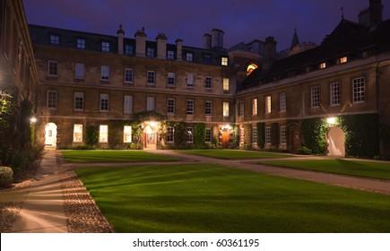 Night view of Trinity Hall College. Cambridge. UK.