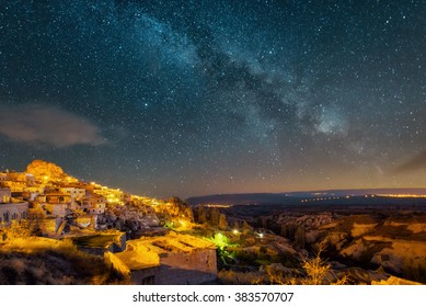 Night view of the Uchisar town. The cave city in Cappadocia. Turkey