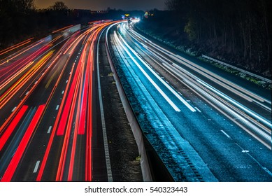 Night View of UK Motorway Highway.