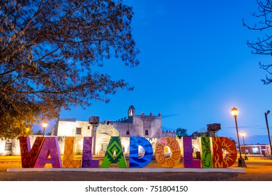 Night view of Valladolid sign and San Bernardino Convent in Valladolid, Mexico