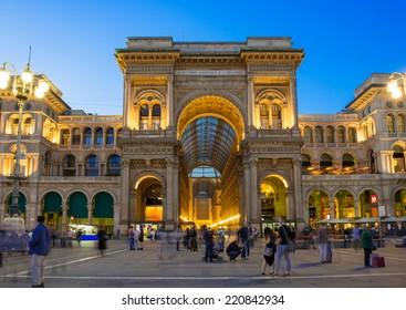 Night view of Vittorio Emanuele II Gallery in Milan, Italy