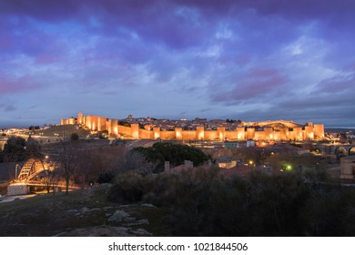 night view of the walls of Avila (Spain)