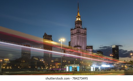 Night view of Warsaw center a capital of Poland