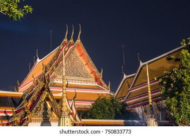 A night view of Wat Pho in Bangkok, Thailand capital city. This is one of the city main Buddhist temple and it was exceptionnaly open at night for the Loy Krathong festival.