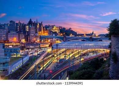 night view of waverley station in edinburgh, scotland