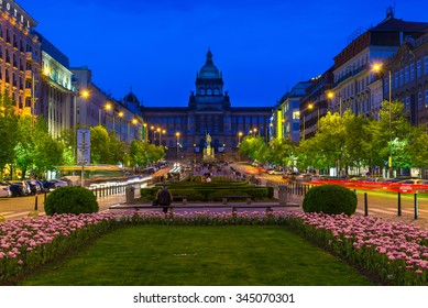 Night view of Wenceslas square and National Museum in Prague, Czech Republic