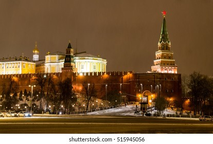 The Night View of the Western Part of Moscow Kremlin, Russia.