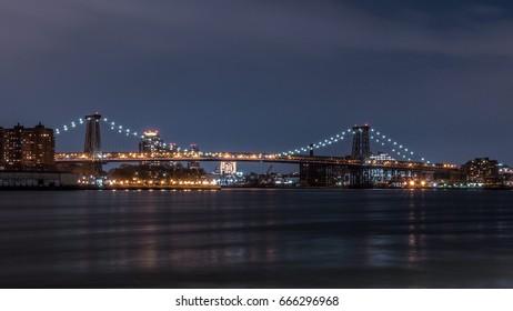 Night View of the Williamsburg Bridge Seen from Brooklyn