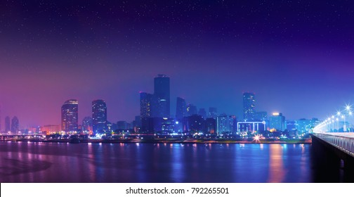 Night view of Yeouido island - buisness district of Seoul, South Korea