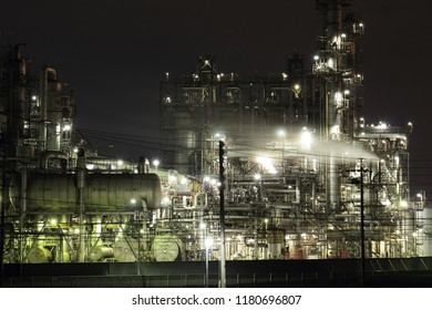 Night view of Yokkaichi city factory in Mie prefecture of Japan