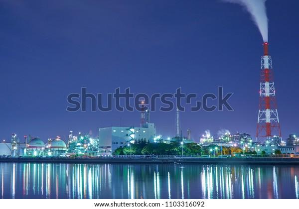 Night view of Yokkaichi city, Mie prefecture, Japan