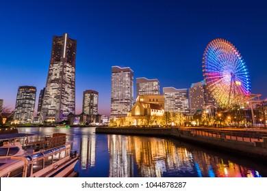 "Night view of ""Yokohama Minato Mirai"""
