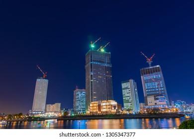 Night view of Yokohama Minato Mirai (high-rise building construction site)