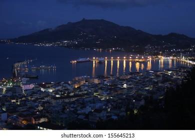 Night view from Zakynthos city Port from Zakynthos island