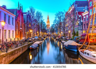 Night view of Zuiderkerk in Amsterdam, The Netherlands.