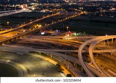 night views of downtown Dallas, Texas traffic