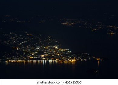 Night views from Mottarone on Lake Maggiore , Lake Orta and the Po Valley , Verbano Cusio Ossola , Piedmont , Italy