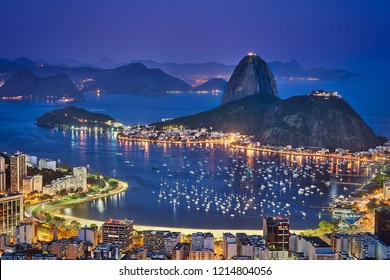 Night views of Sugarloaf and city of Rio de Janeiro, Brazil