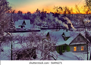 The night in the village in winter.