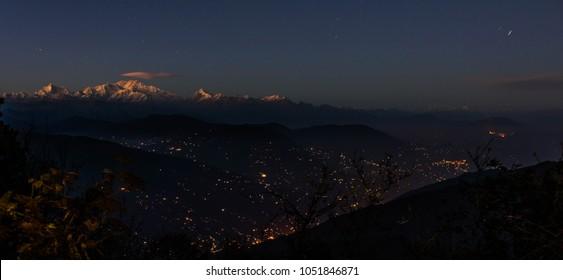 Night vision of Kanchenjungha from Tonglu trekker's hut. It is on Sandakphu (Singalila National Park) Himalayan trek route