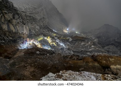 Night visitors at Ijen Volcano and Crater, Java, Indonesia
