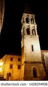 Night walk through ancient medival town Stari grad on Hvar island in Croatia