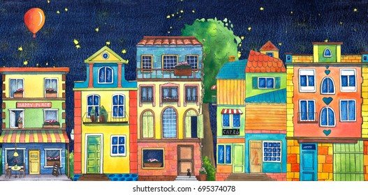 Night watercolor street with cafe, houses, flowers shop, and cats. Hand drawn illustration.