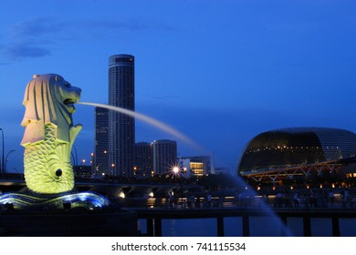 Night Waterfront at Marina bay and fountain, Singapore